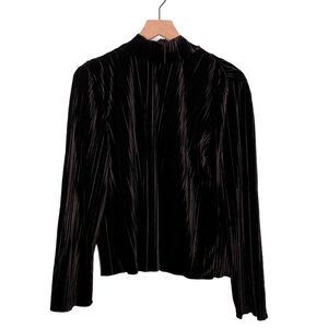 JOA Black Velvet Mock Neck Pleated Top